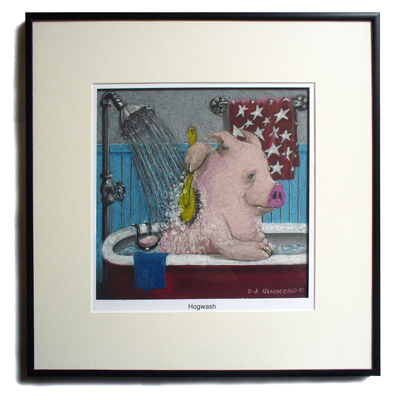 "Framed ""Hogwash"" print"